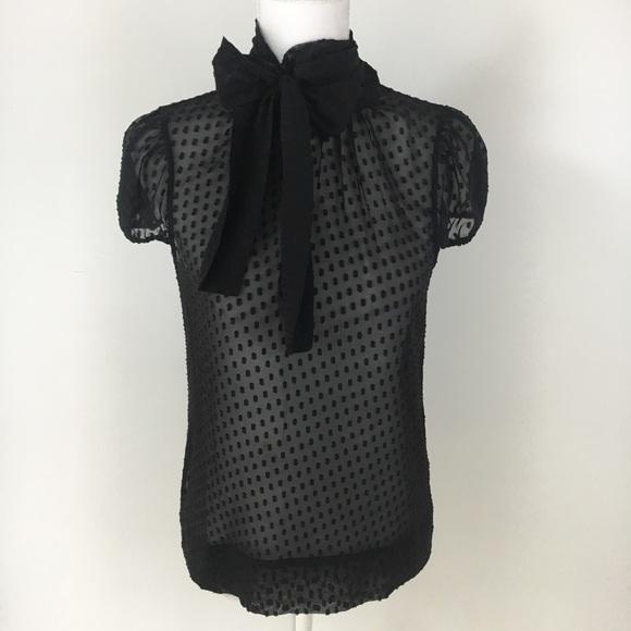 c235f3fdc67 BCBGMaxAzria Tops - BCBGMAXAZRIA black pussy bow tie neck silk blouse